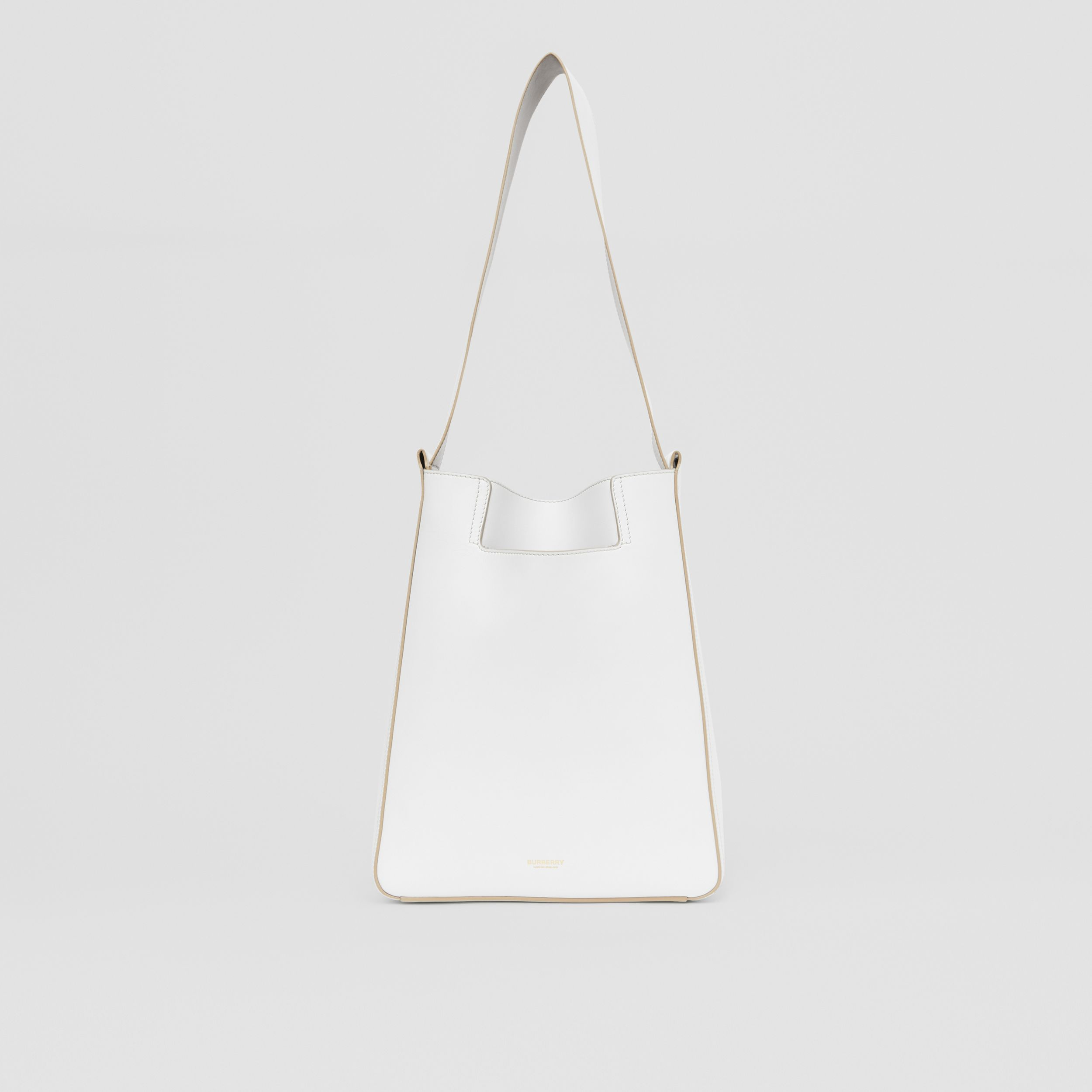 Small Leather Basket Bag in Optic White/soft Fawn - Women | Burberry - 1