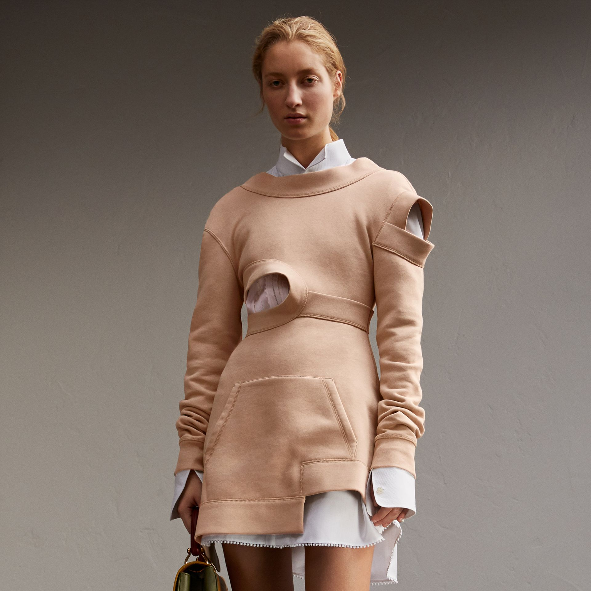 Cut-out Sweatshirt Dress in Biscuit - Women | Burberry - gallery image 1