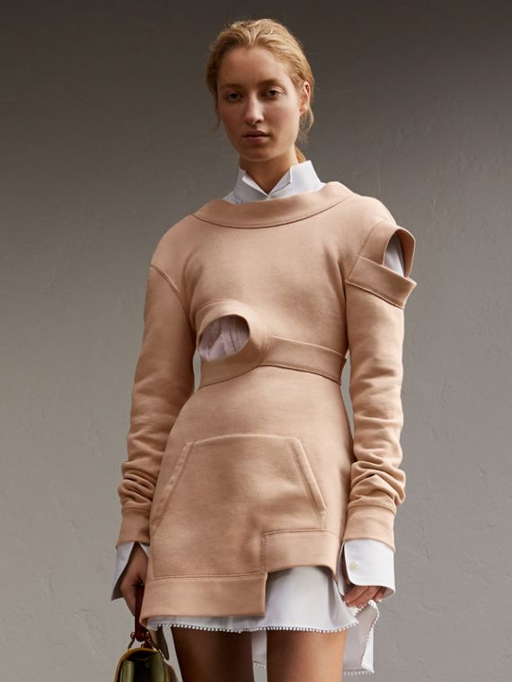 Brushed-back Jersey Cut-out Sweatshirt Dress