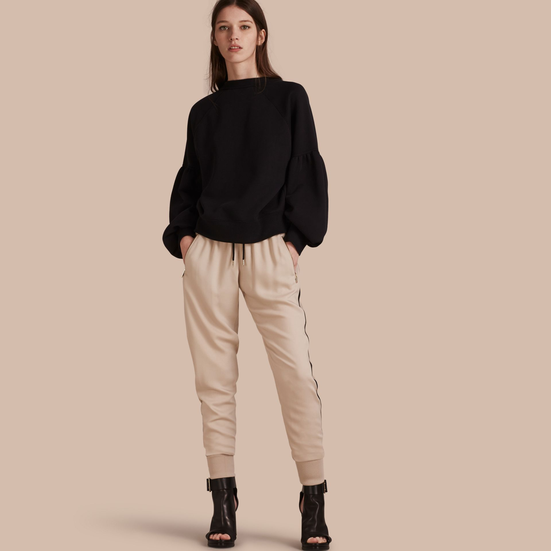 Zip Detail Jersey Sweat Pants in Stone - gallery image 1