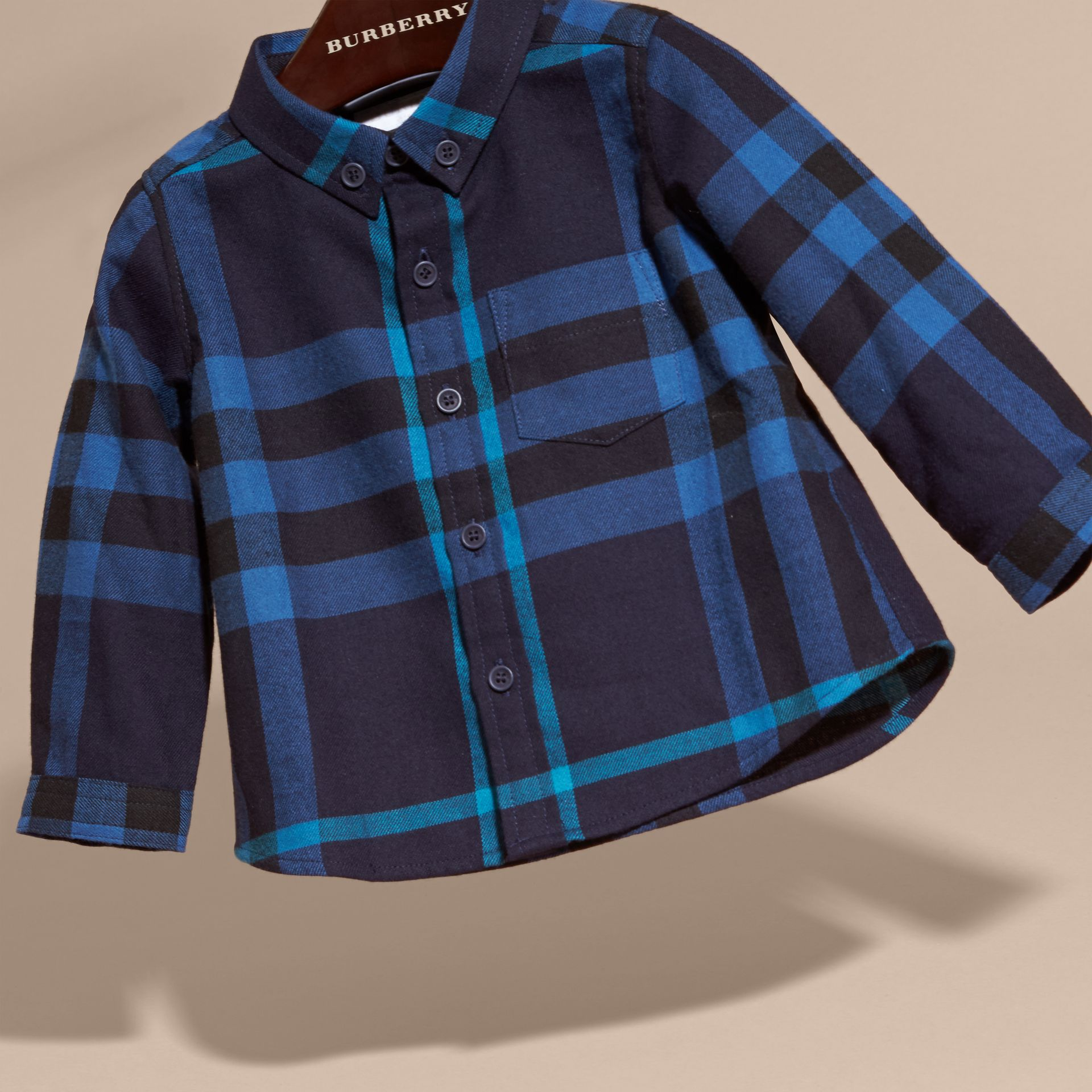 Bright navy Check Cotton Flannel Shirt - gallery image 3