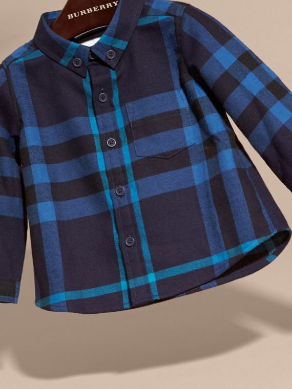 Bright navy Check Cotton Flannel Shirt - cell image 2
