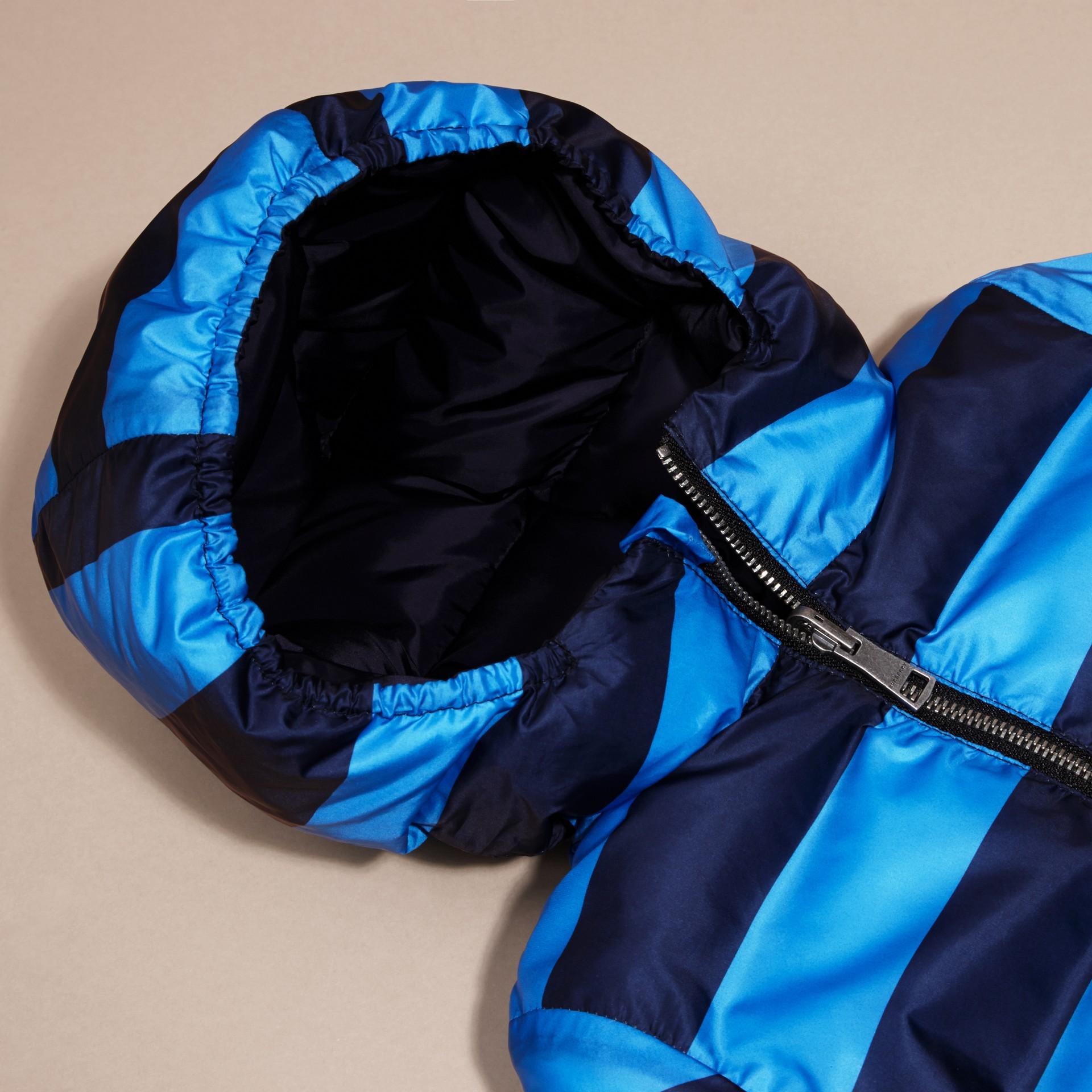 Bleu encre Doudoune longue réversible rembourrée en duvet - photo de la galerie 2