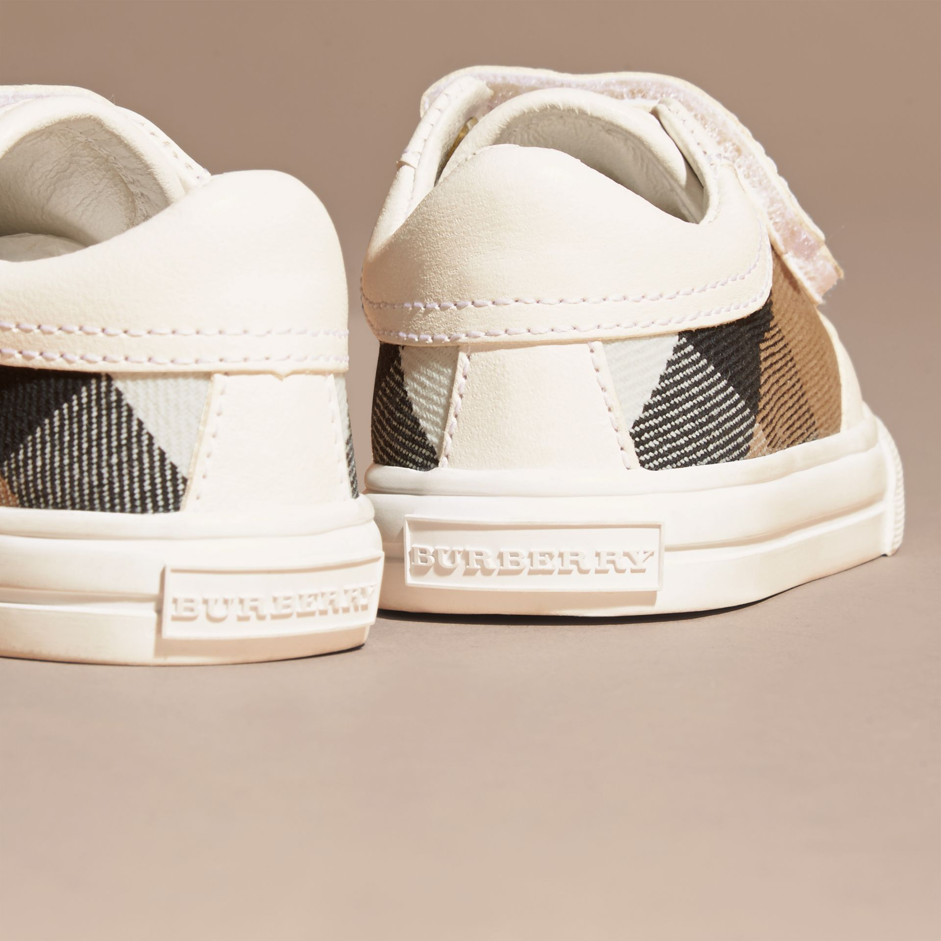 House Check and Leather Trainers in Optic White | Burberry - gallery image 4