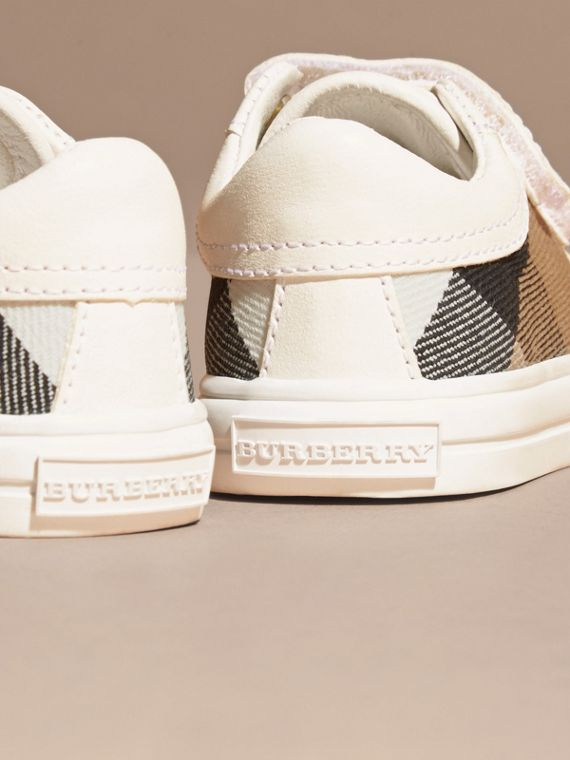 House Check and Leather Trainers in Optic White | Burberry - cell image 3