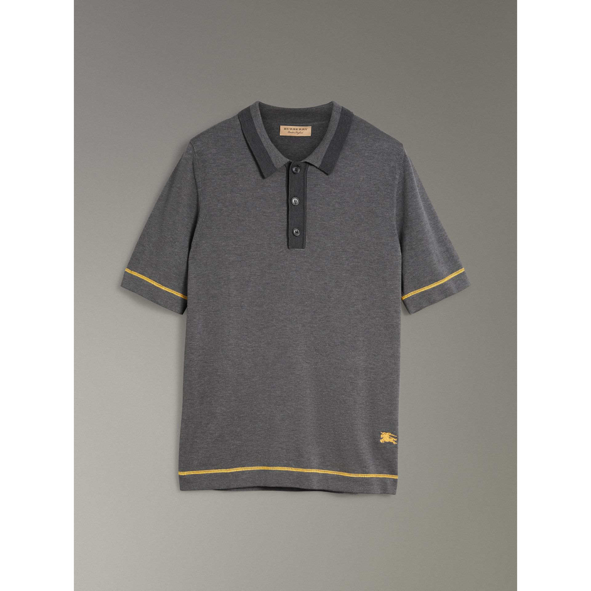 Tipped Cotton Jersey Polo Shirt in Mid Grey Melange - Men | Burberry Canada - gallery image 3