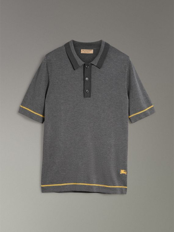 Tipped Cotton Jersey Polo Shirt in Mid Grey Melange - Men | Burberry - cell image 3