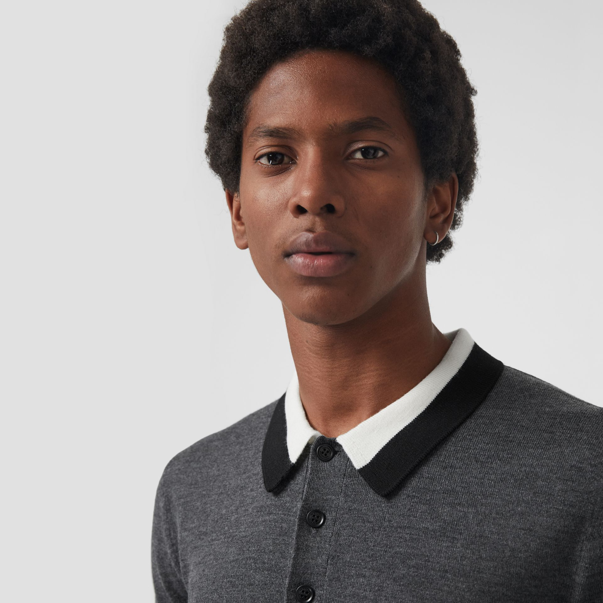 Stripe Detail Merino Wool Long-sleeve Polo Shirt in Dark Grey Melange - Men | Burberry - gallery image 1