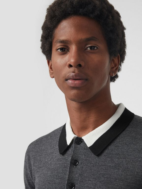 Stripe Detail Merino Wool Long-sleeve Polo Shirt in Dark Grey Melange - Men | Burberry - cell image 1