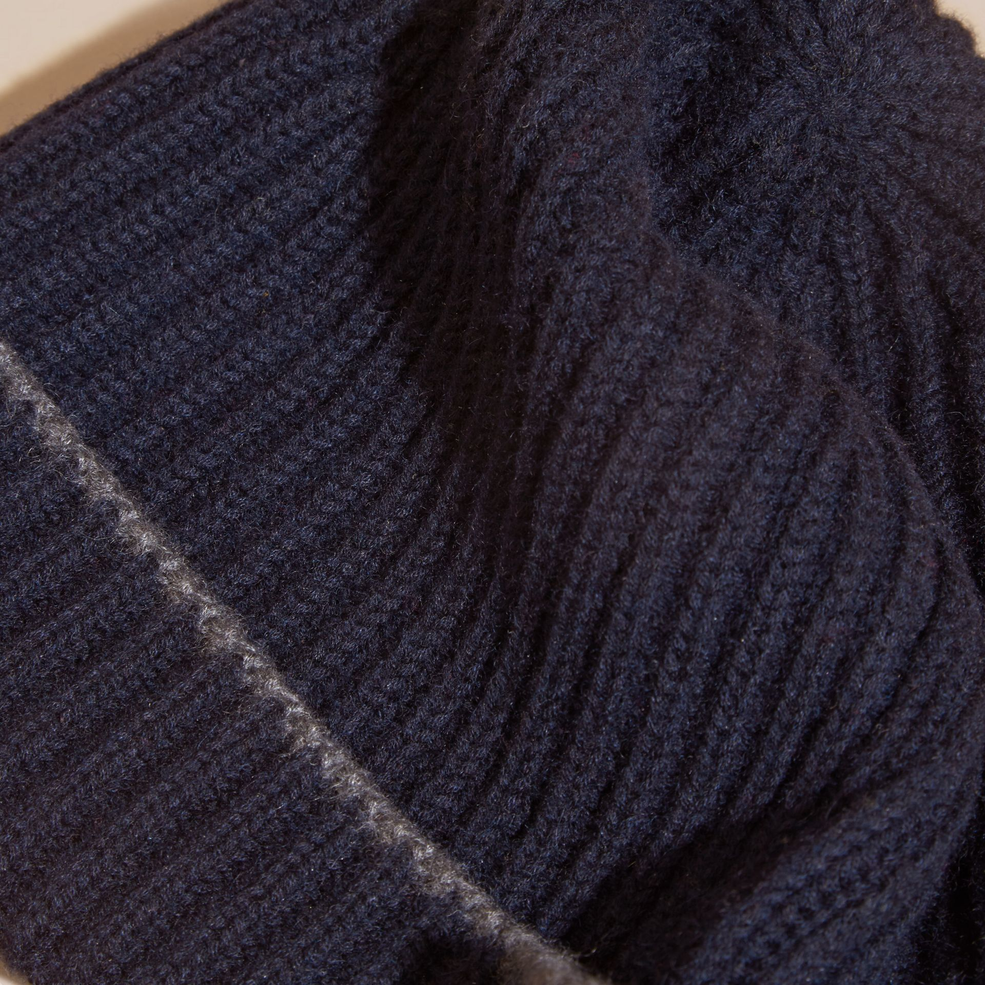 Ribbed Cashmere Beanie with Border Detail in Navy/mid Grey - gallery image 2