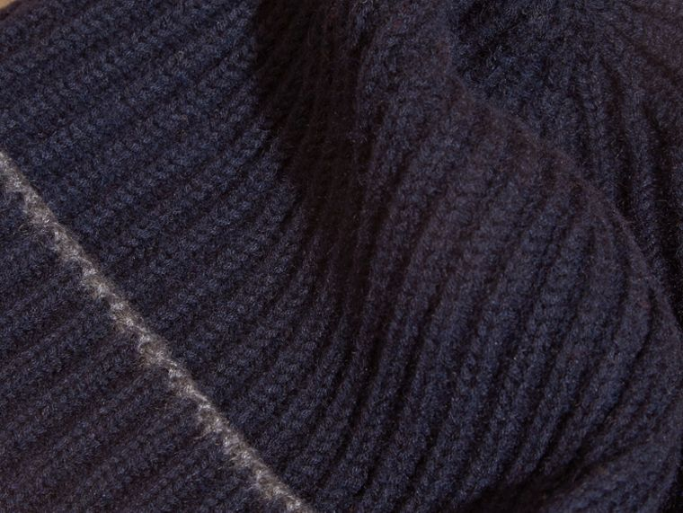 Ribbed Cashmere Beanie with Border Detail in Navy/mid Grey - cell image 1