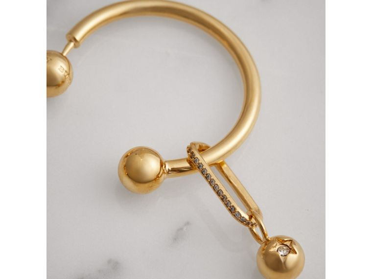 Crystal Charm Gold-plated Hoop Earrings in Light Gold/crystal - Women | Burberry Canada - cell image 1