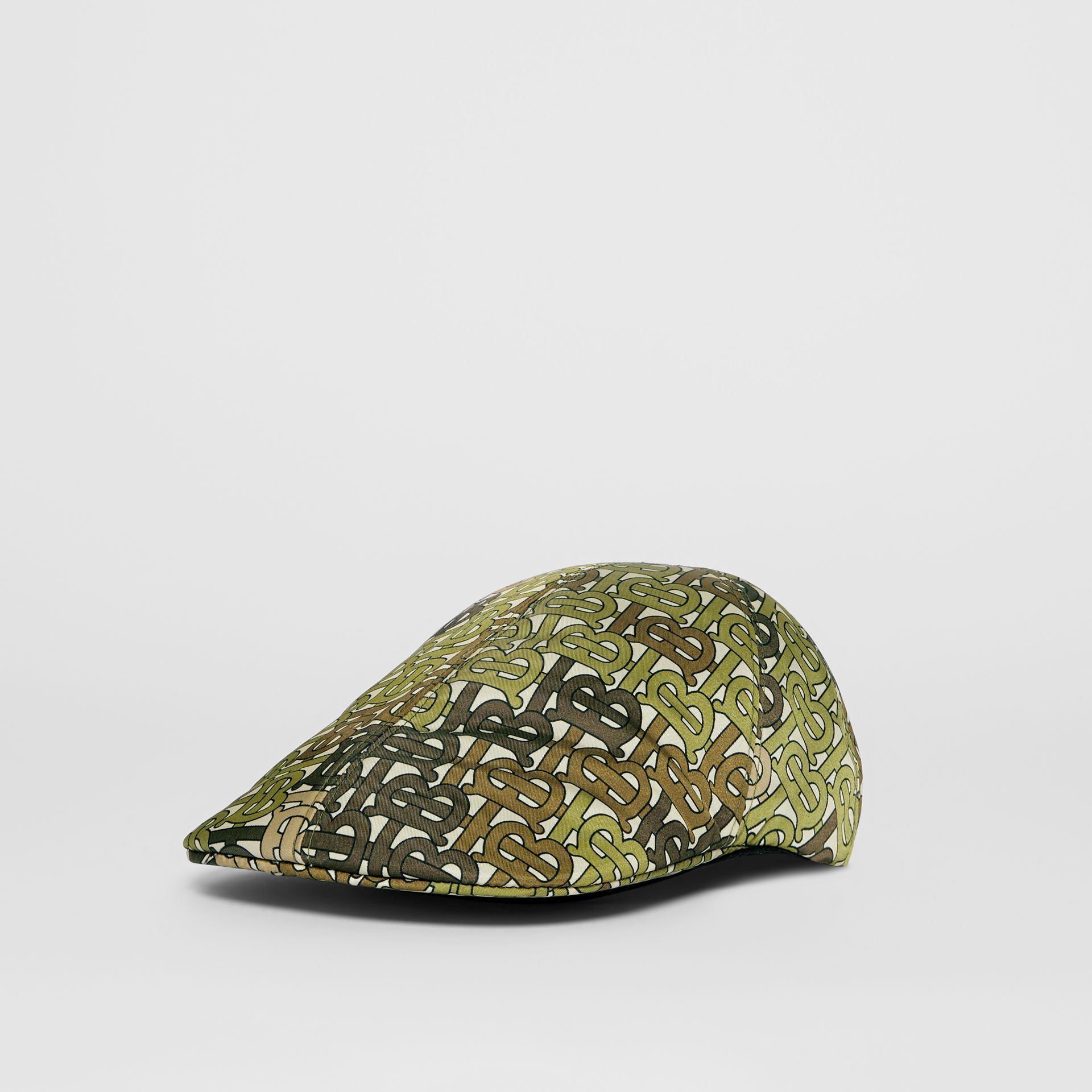 Monogram Print Nylon Flat Cap in Khaki Green | Burberry - gallery image 5