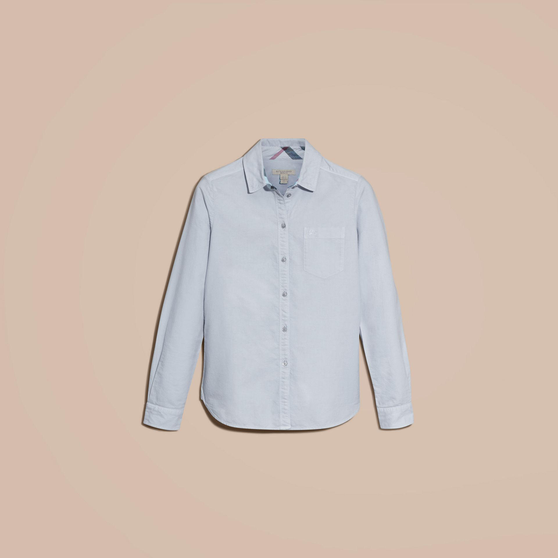 Pale blue Check Detail Cotton Shirt Pale Blue - gallery image 4