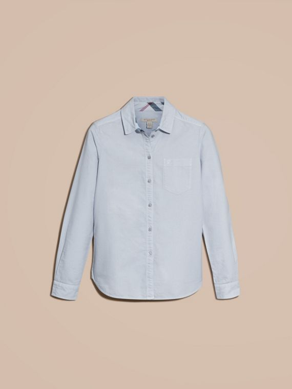 Pale blue Check Detail Cotton Shirt Pale Blue - cell image 3