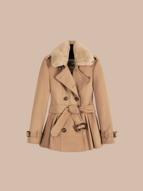 Camel Detachable Fur Trim Skirted Wool Jacket - cell image 3