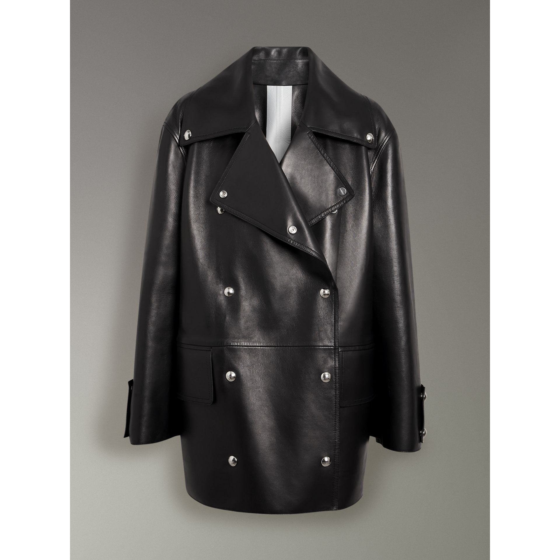Double-breasted Bonded Lambskin Jacket in Black - Women | Burberry - gallery image 3