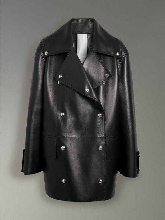 Double-breasted Bonded Lambskin Jacket in Black - Women | Burberry - cell image 3