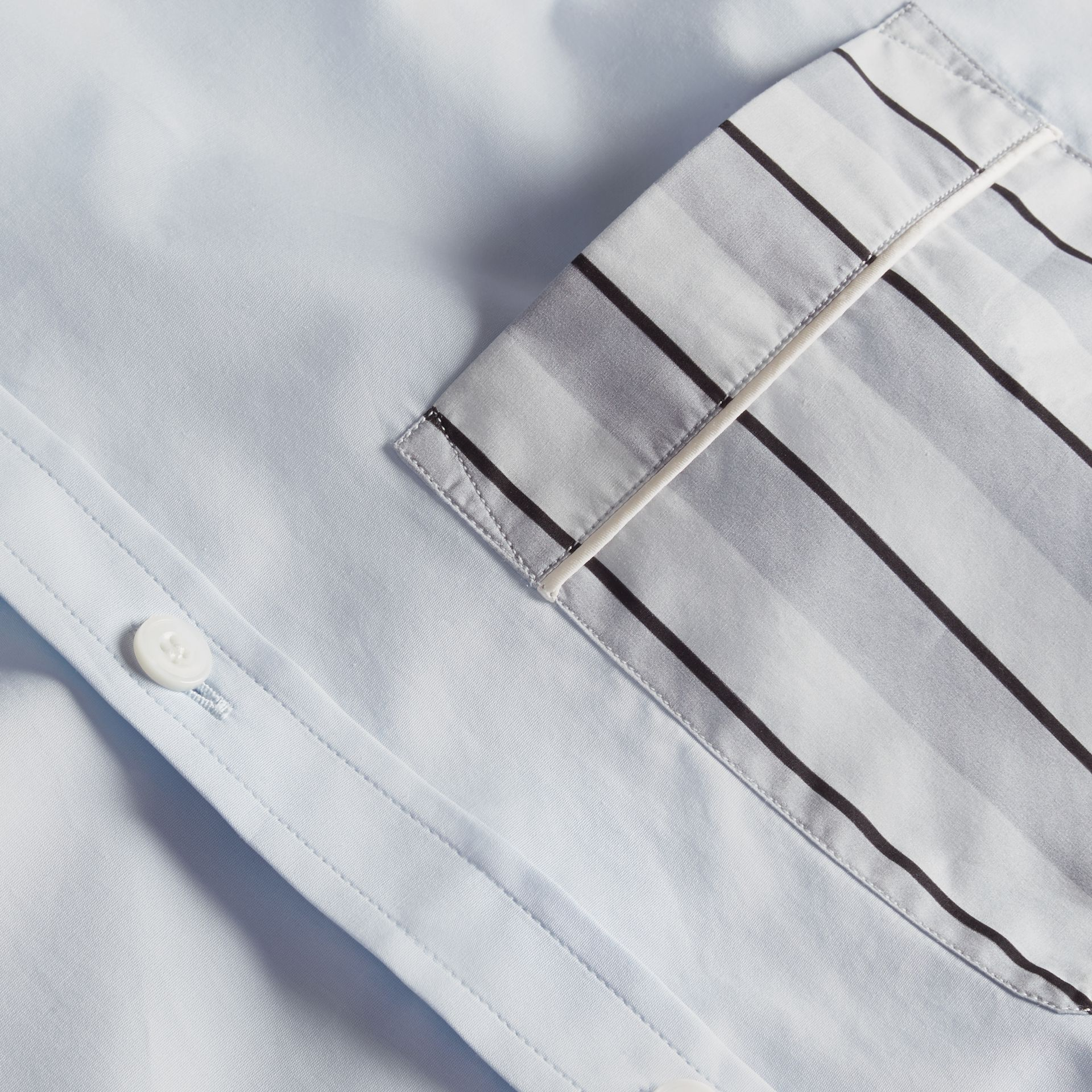 Pale sky blue Cotton Poplin Shirt with Pyjama Stripe Pocket - gallery image 2