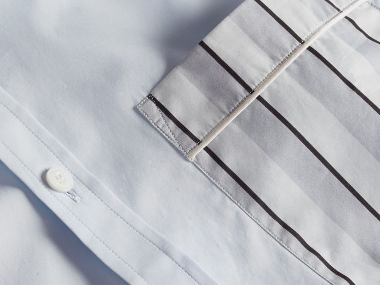 Pale sky blue Cotton Poplin Shirt with Pyjama Stripe Pocket - cell image 1