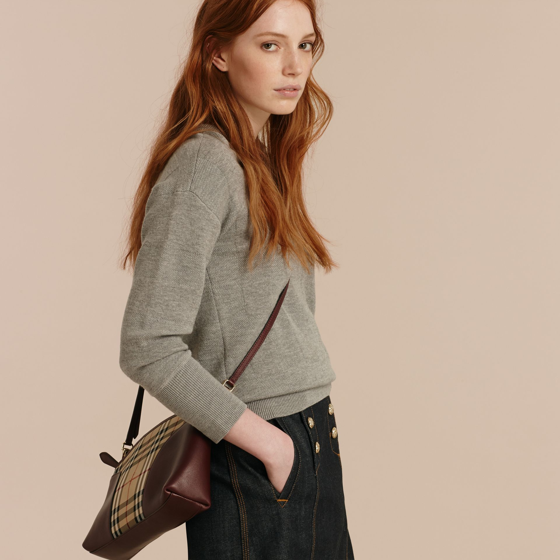 Honey/deep claret Horseferry Check and Leather Clutch Bag Honey/deep Claret - gallery image 4