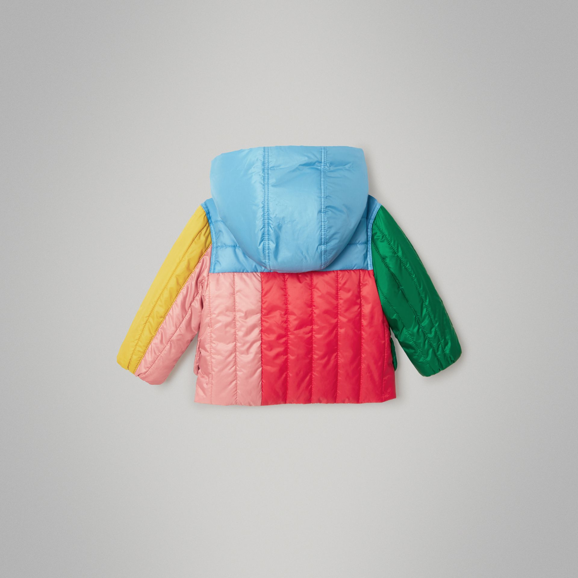 Colour Block Quilted Hooded Puffer Jacket in Bright Orange Red - Children | Burberry - gallery image 3