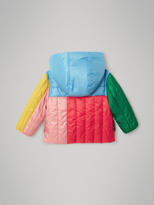 Colour Block Quilted Hooded Puffer Jacket in Bright Orange Red - Children | Burberry - cell image 3