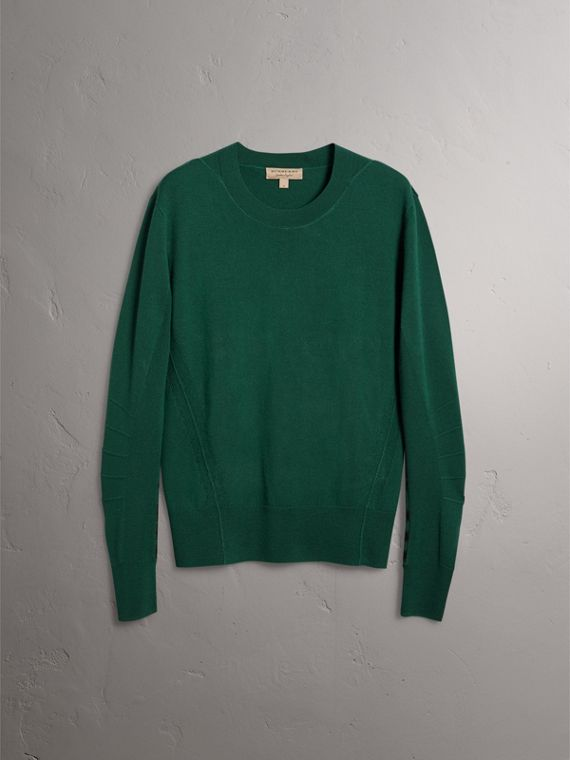 Check Detail Merino Wool Sweater in Dark Teal - Men | Burberry Australia - cell image 3