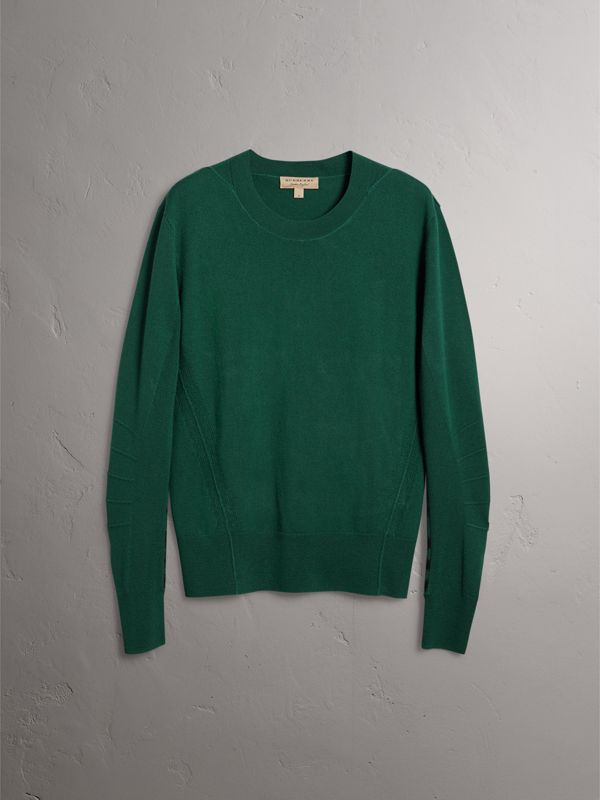 Check Detail Merino Wool Sweater in Dark Teal - Men | Burberry - cell image 3