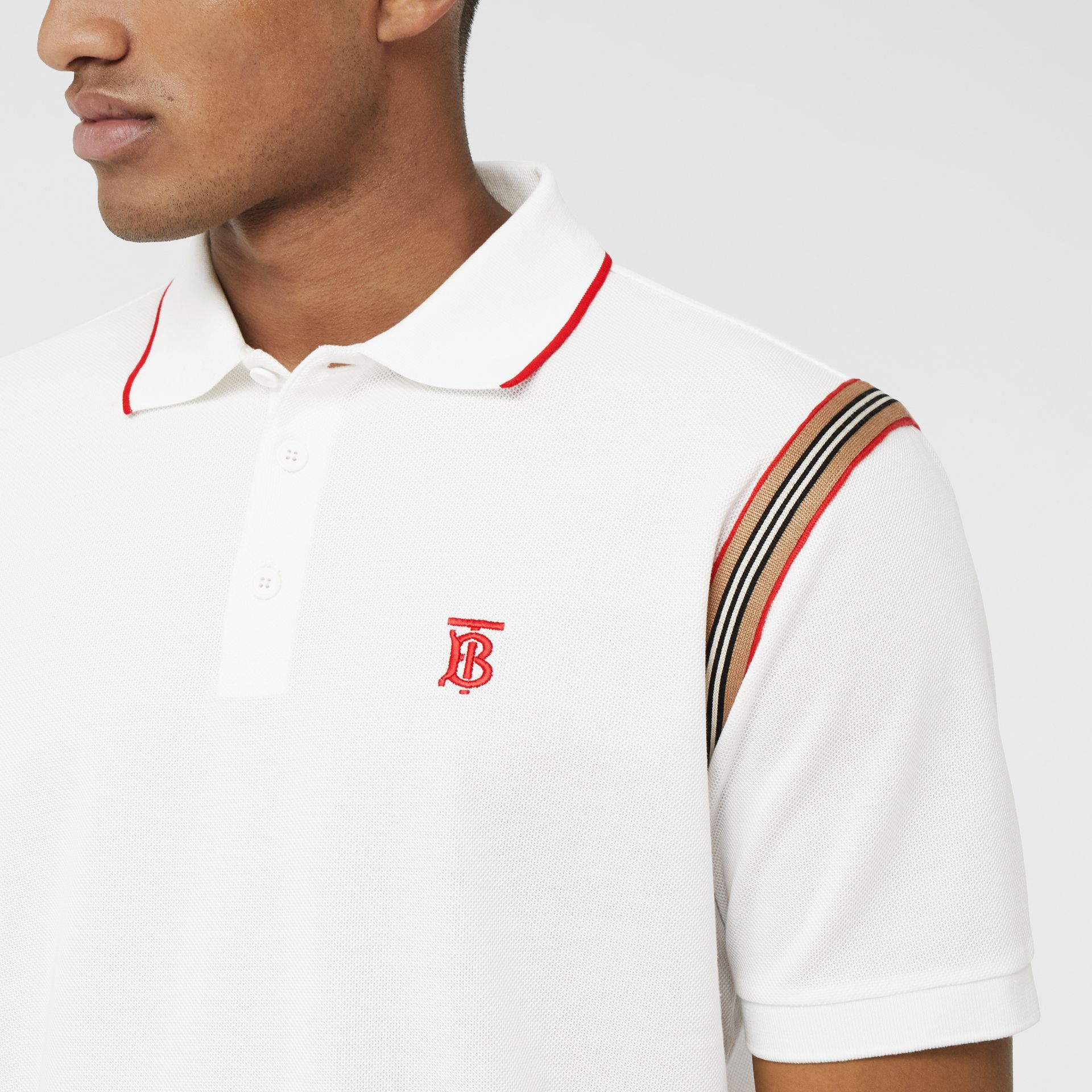 Icon Stripe Trim Monogram Motif Cotton Polo Shirt in White - Men | Burberry - gallery image 1