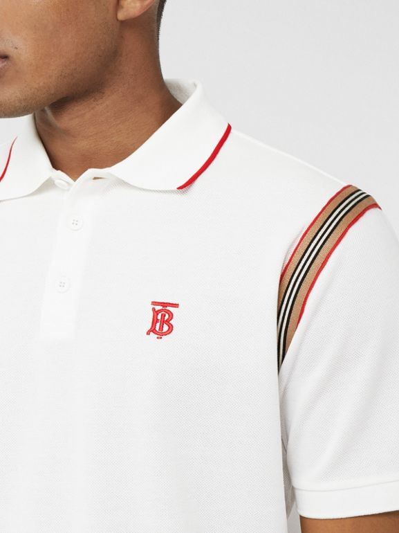 Icon Stripe Trim Monogram Motif Cotton Polo Shirt in White - Men | Burberry - cell image 1