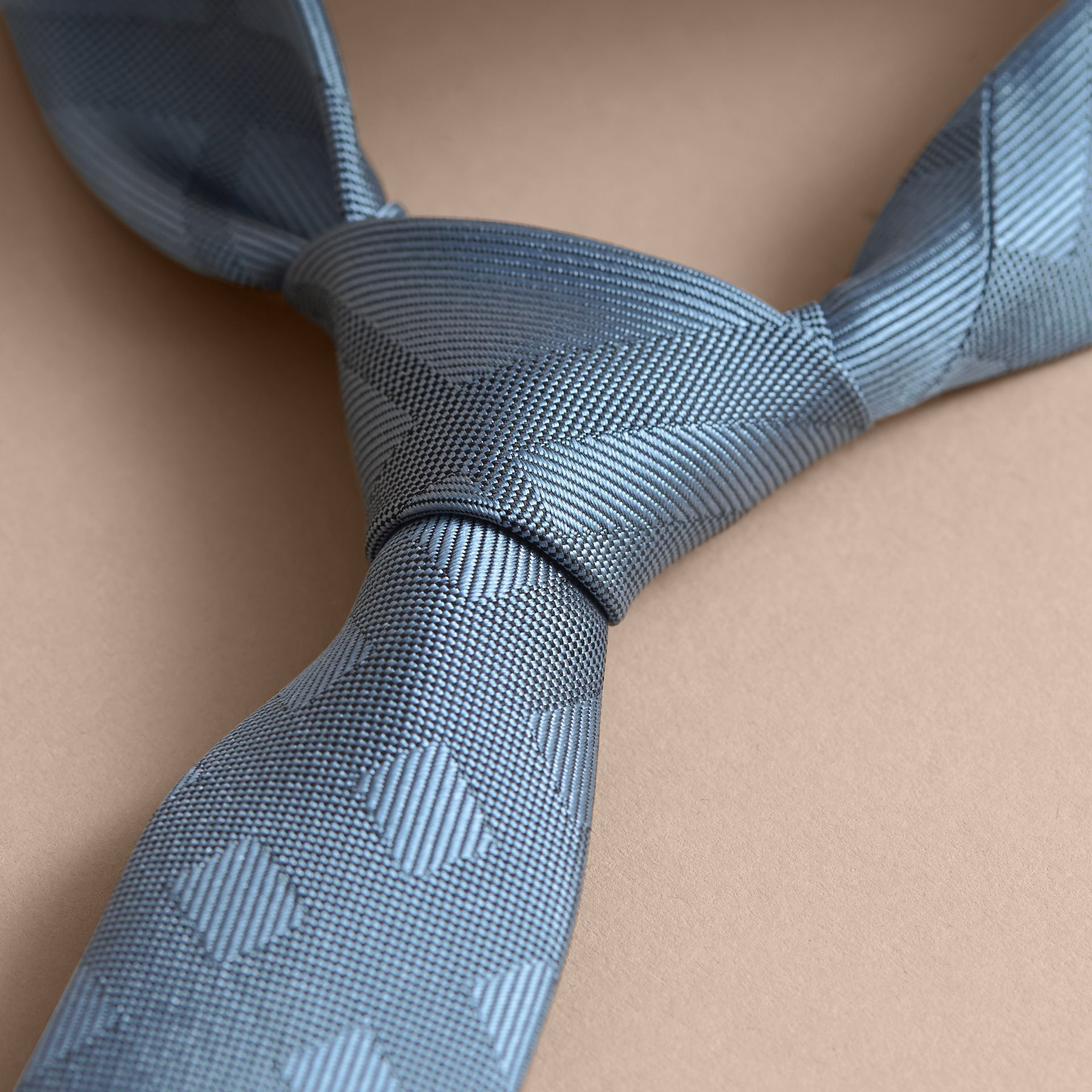 Slim Cut Check Silk Tie in Light Blue - gallery image 2