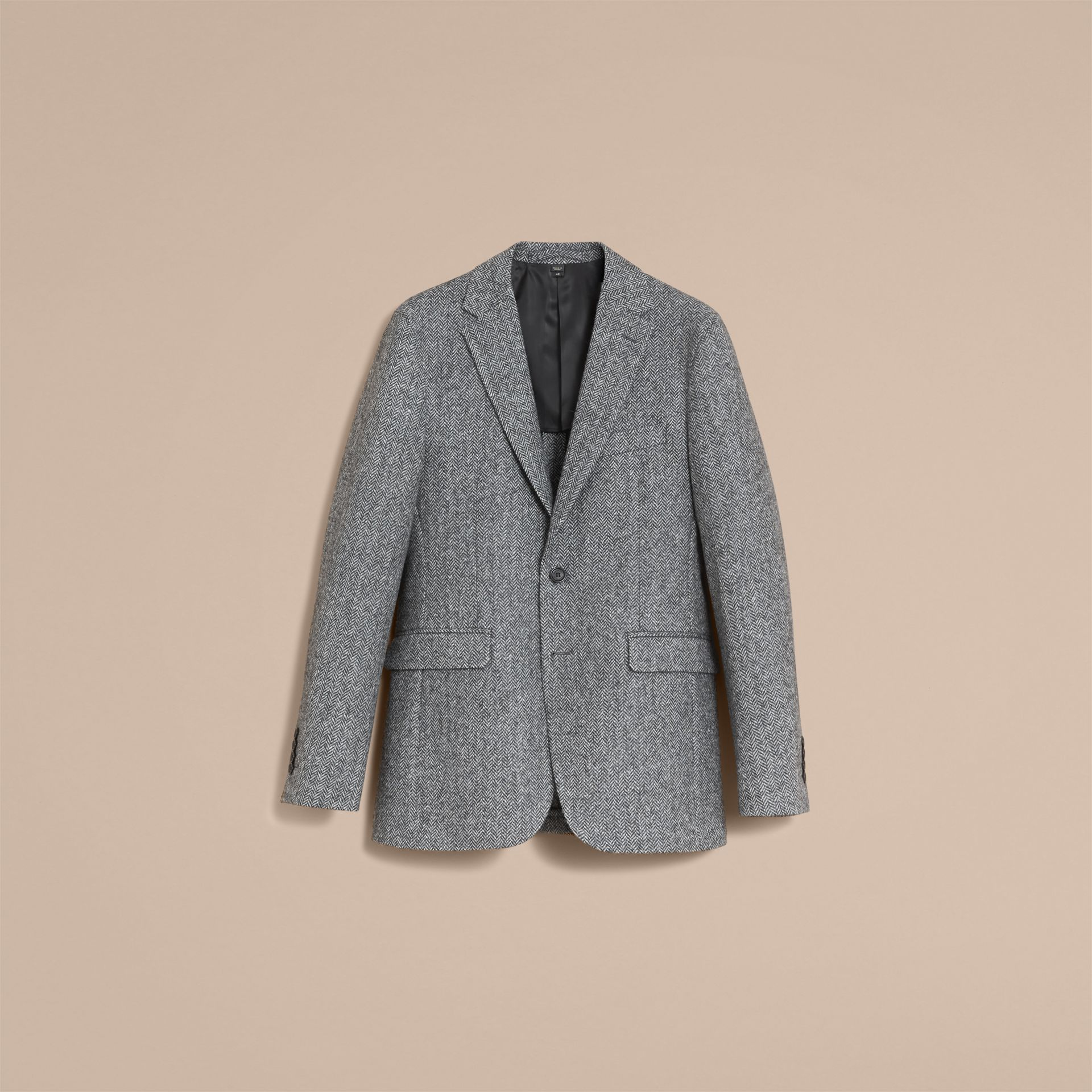 Slim Fit Herringbone Wool Tailored Jacket - gallery image 4