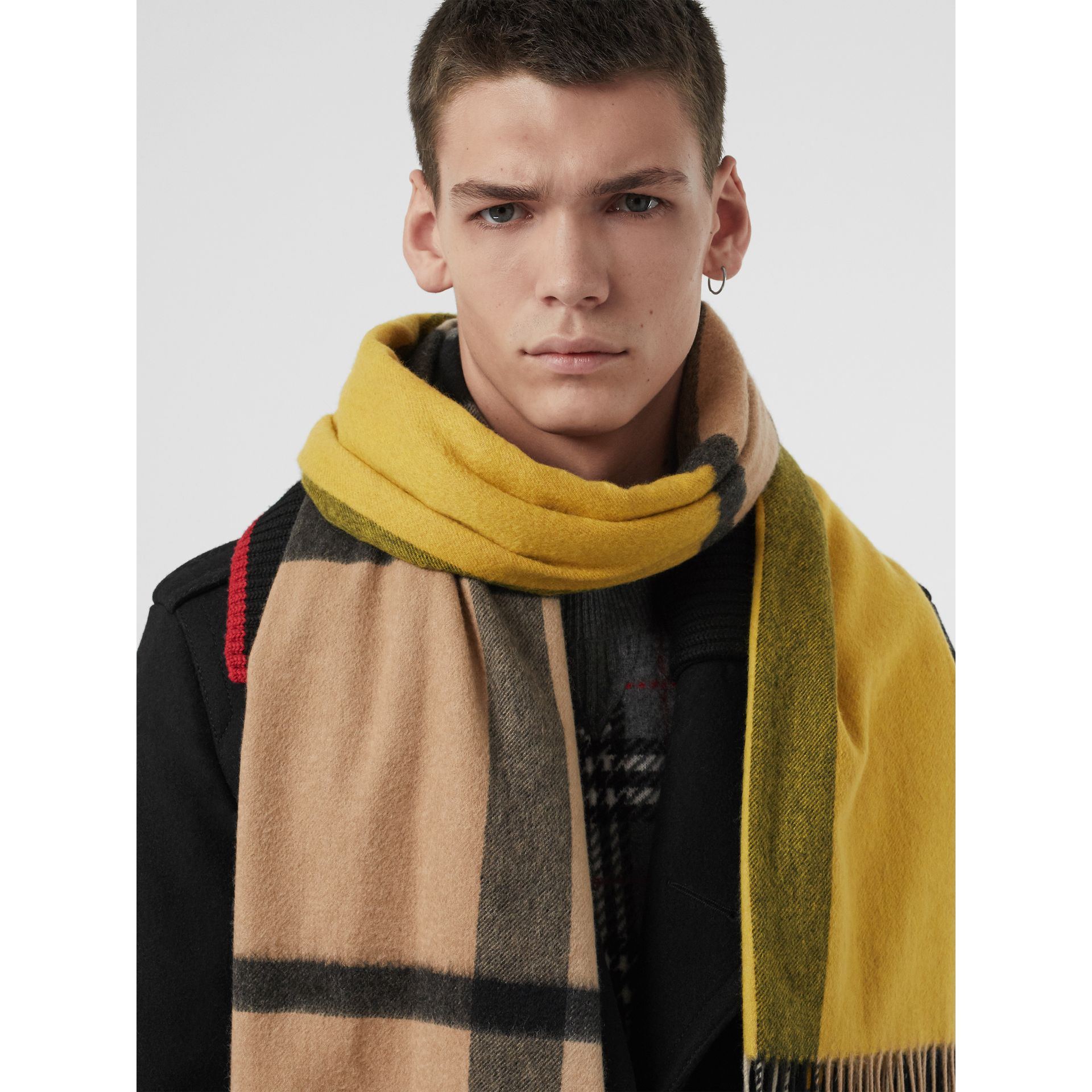 Colour Block Check Cashmere Scarf in Gorse Yellow | Burberry Singapore - gallery image 6