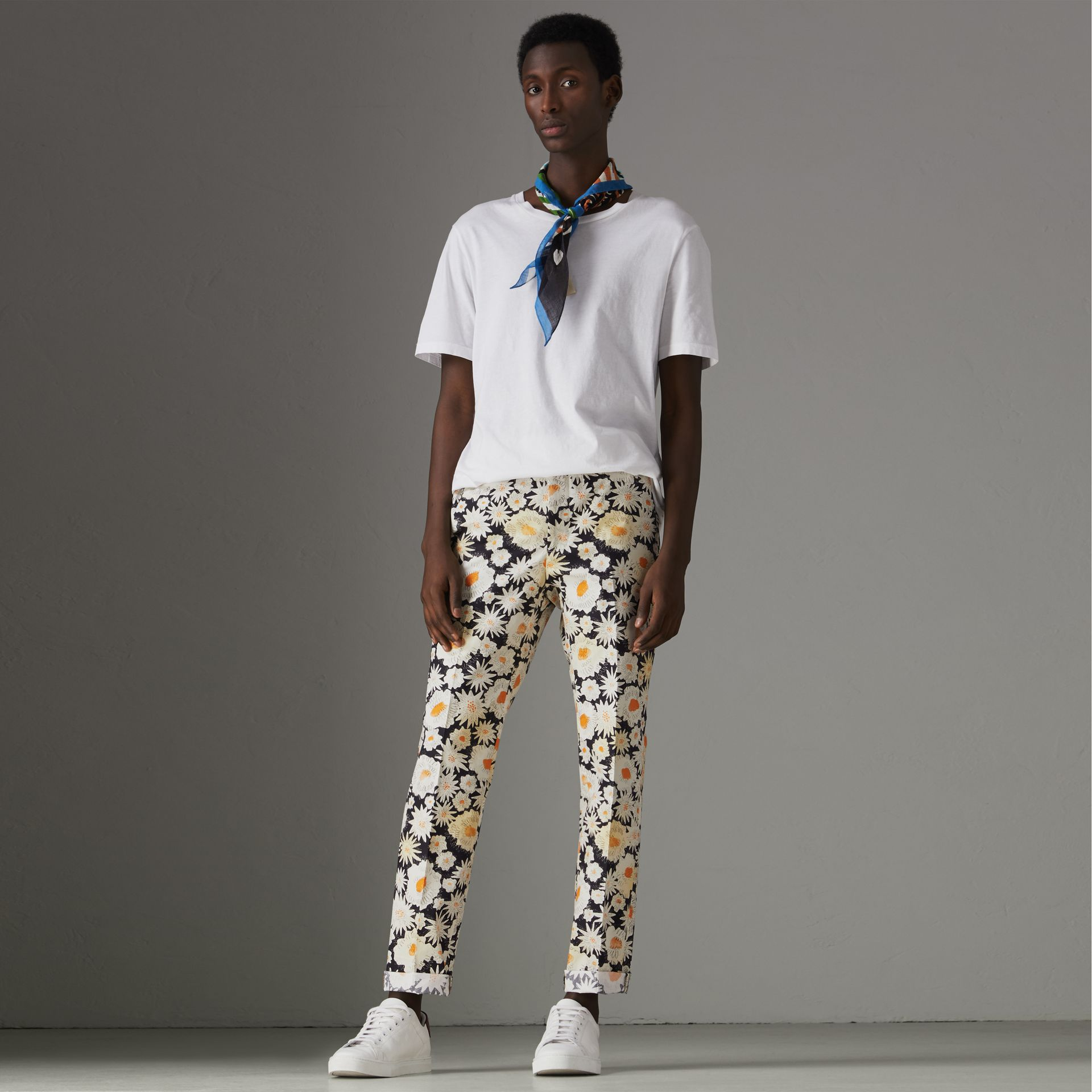Daisy Print Cotton Tailored Trousers in Black - Men | Burberry - gallery image 0