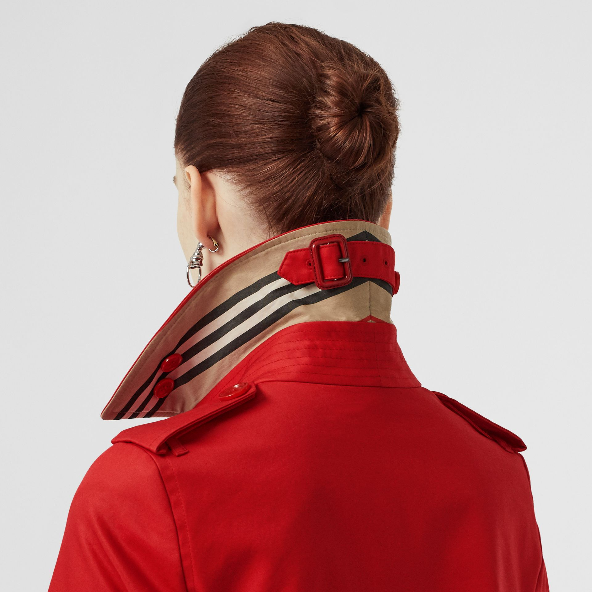 Cotton Gabardine Trench Coat in Bright Red - Women | Burberry Australia - gallery image 3