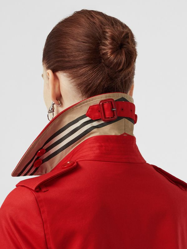 Cotton Gabardine Trench Coat in Bright Red - Women | Burberry United Kingdom - cell image 3