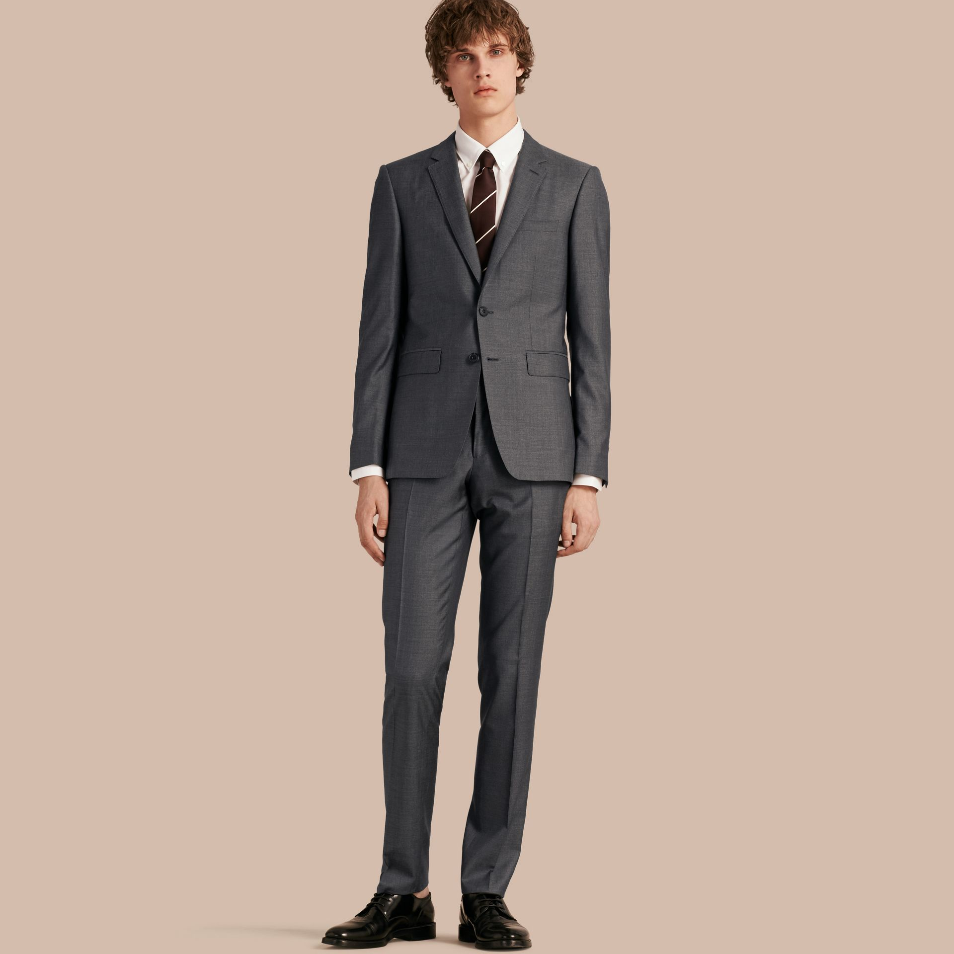Dark grey melange Slim Fit Wool Silk Half-canvas Suit - gallery image 1