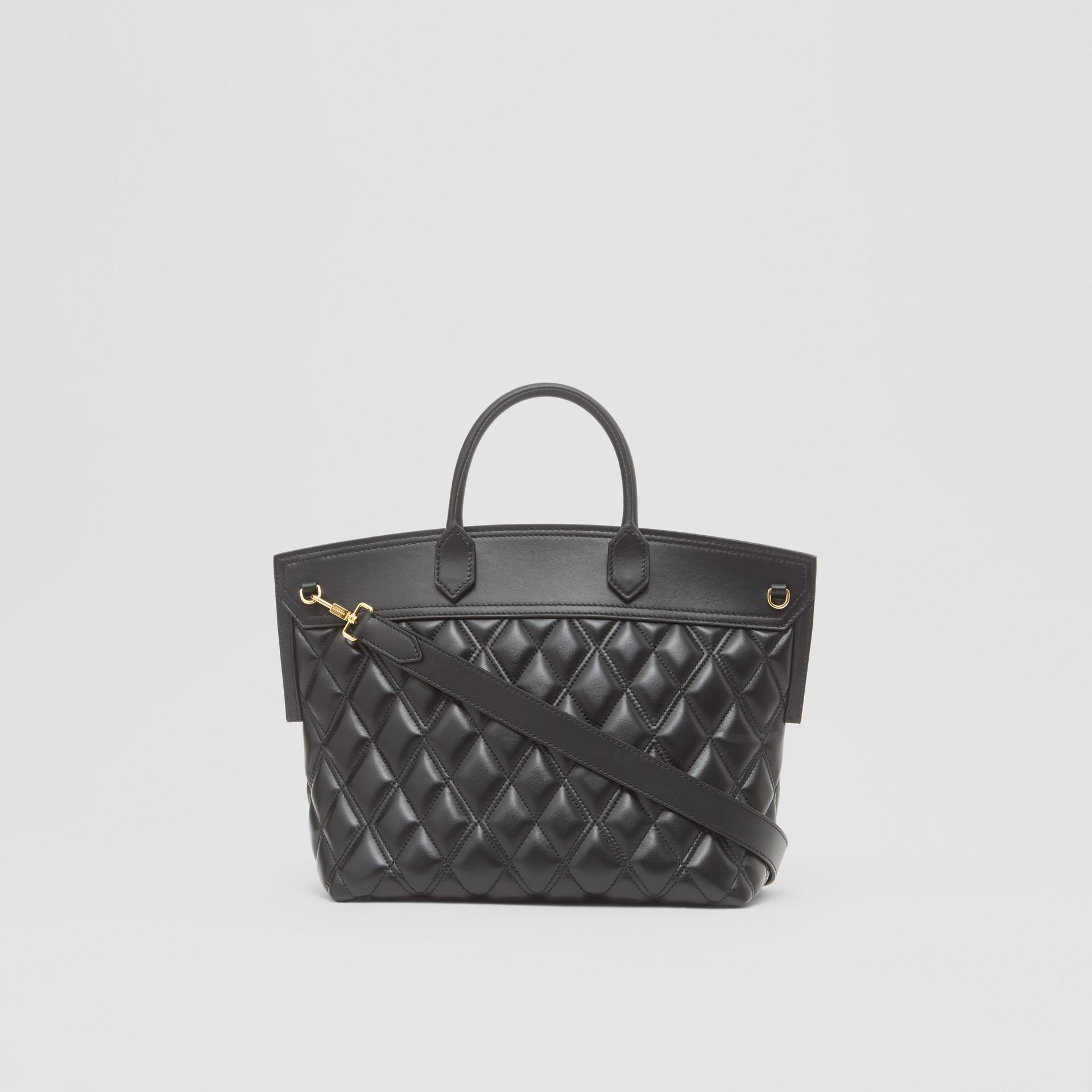 Small Quilted Lambskin Society Top Handle Bag in Black - Women | Burberry - gallery image 5