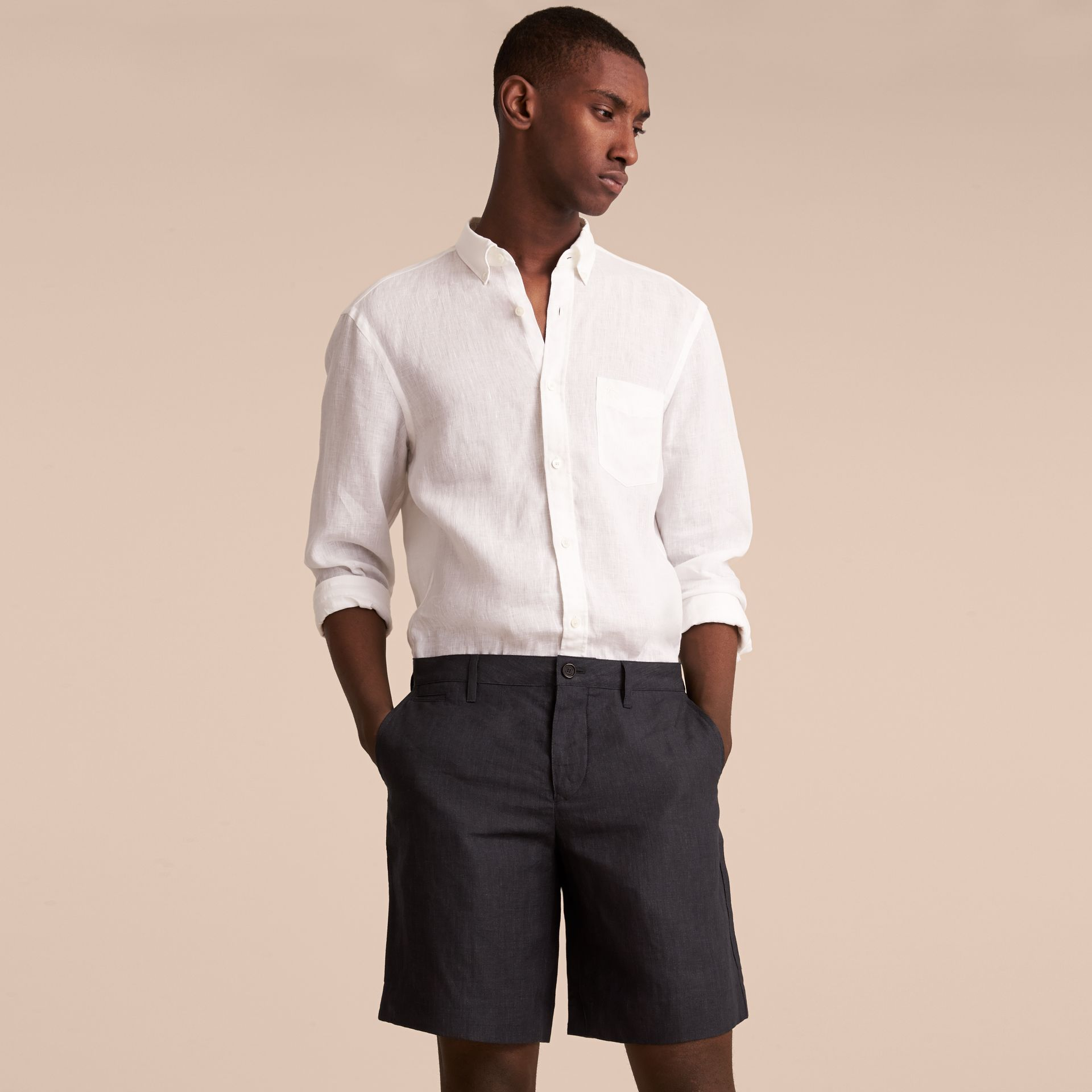 Lightweight Linen Shorts in Charcoal - Men | Burberry - gallery image 6