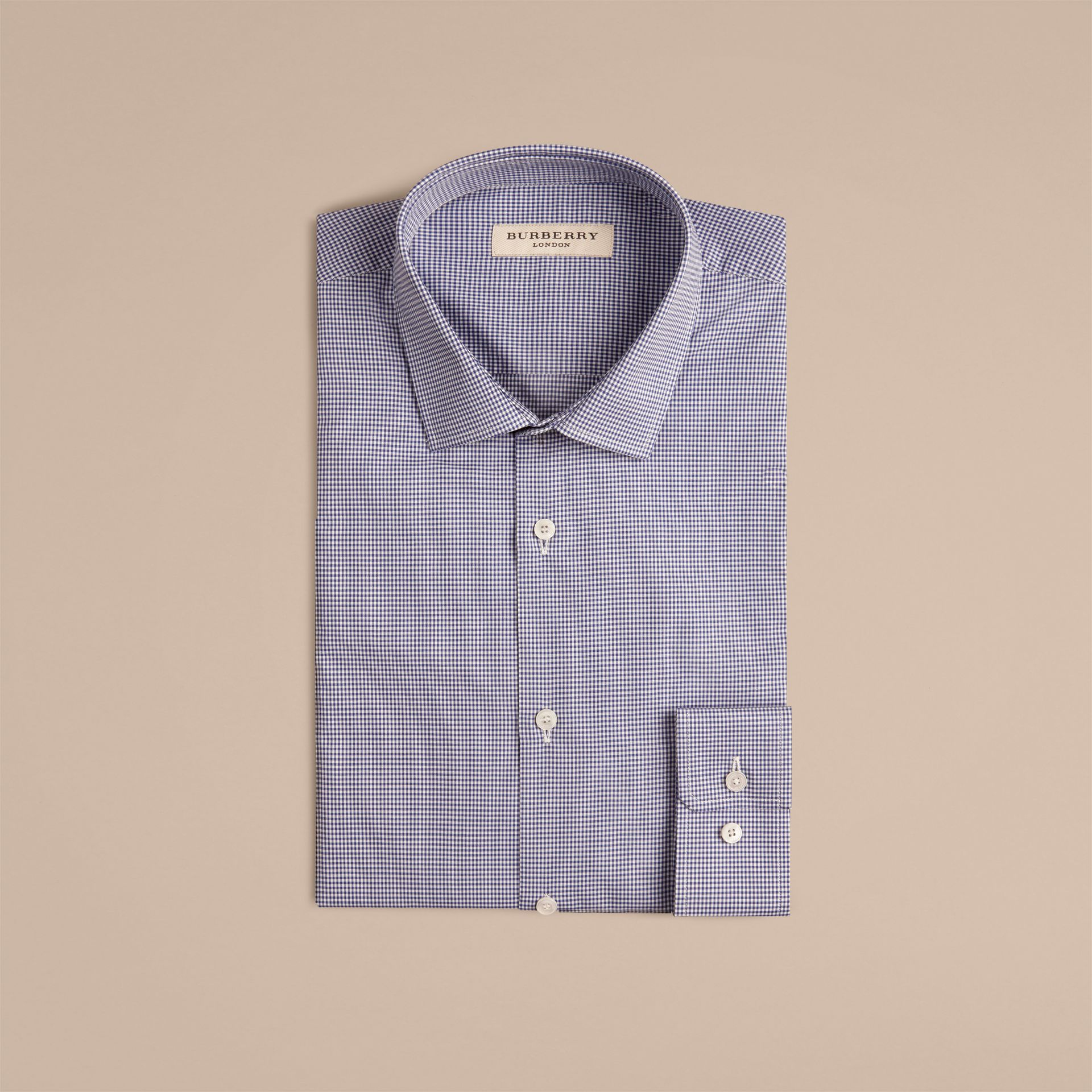 Dark empire blue Slim Fit Gingham Cotton Poplin Shirt Dark Empire Blue - gallery image 4