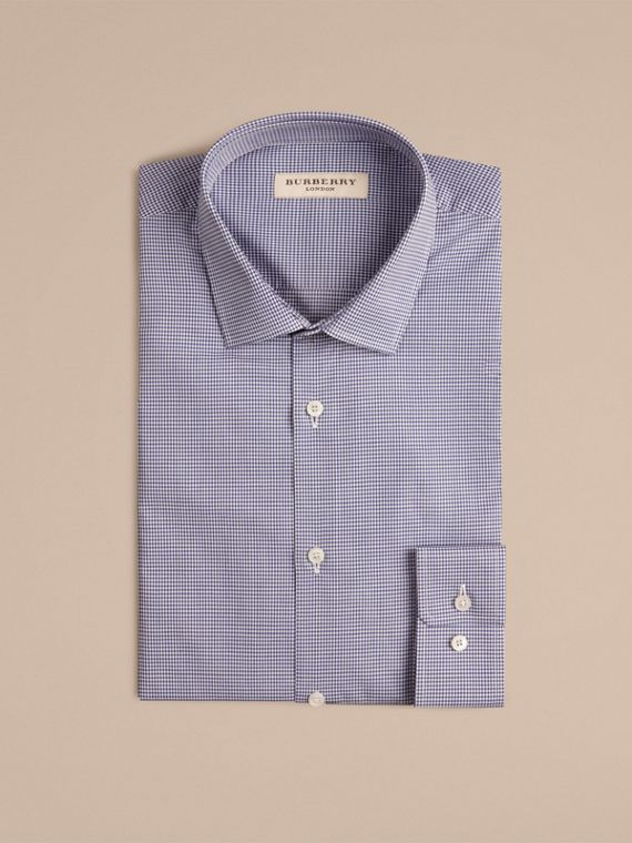 Slim Fit Gingham Cotton Poplin Shirt in Dark Empire Blue - cell image 3