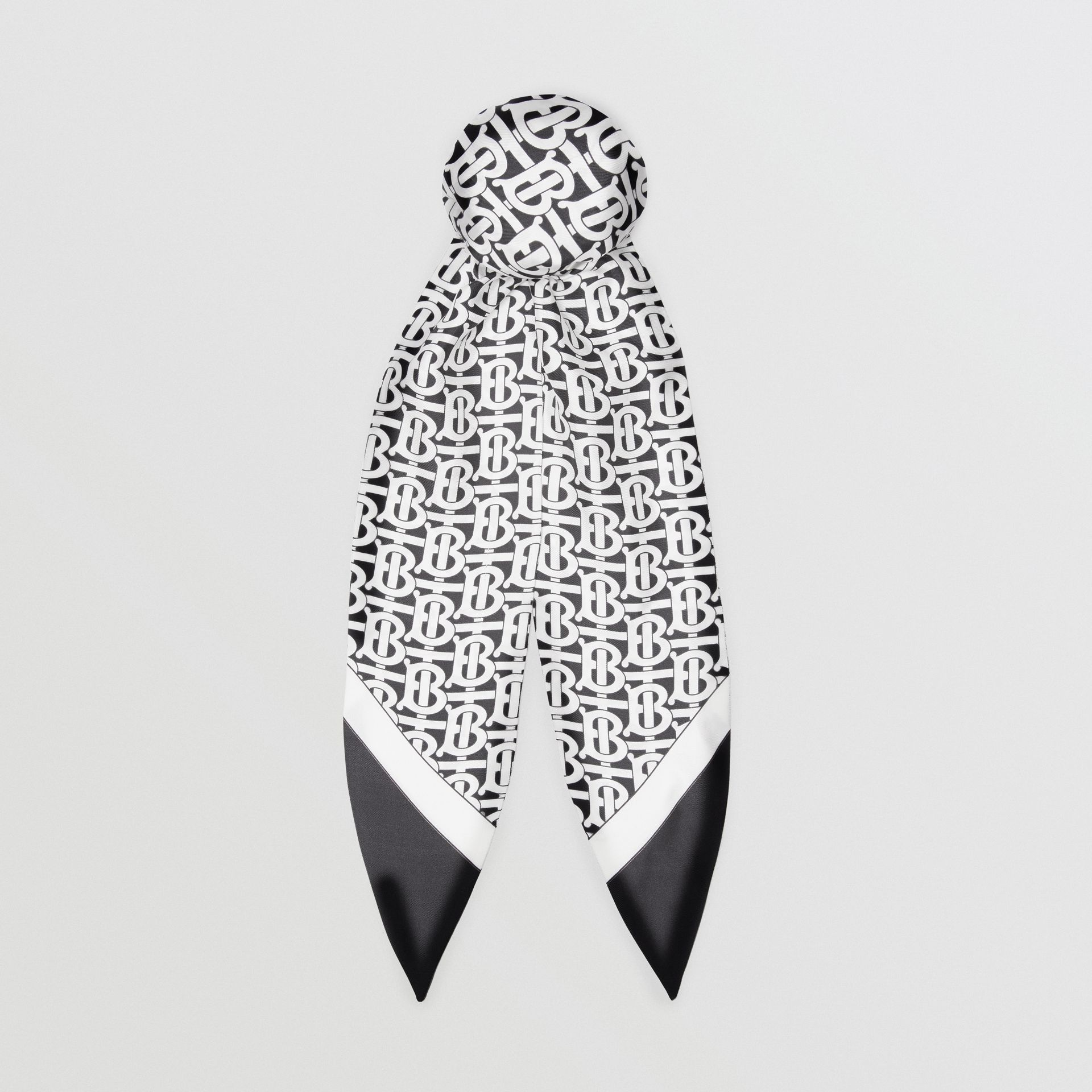 Monogram Print Silk Hair Scarf in Monochrome - Women | Burberry - gallery image 0