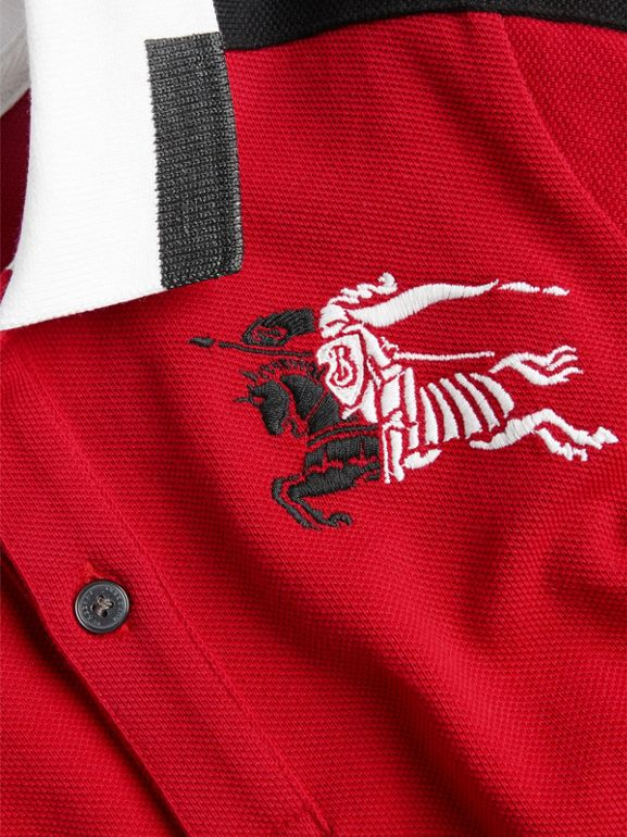 Stripe Detail Cotton Polo Shirt in Bright Red | Burberry - cell image 1