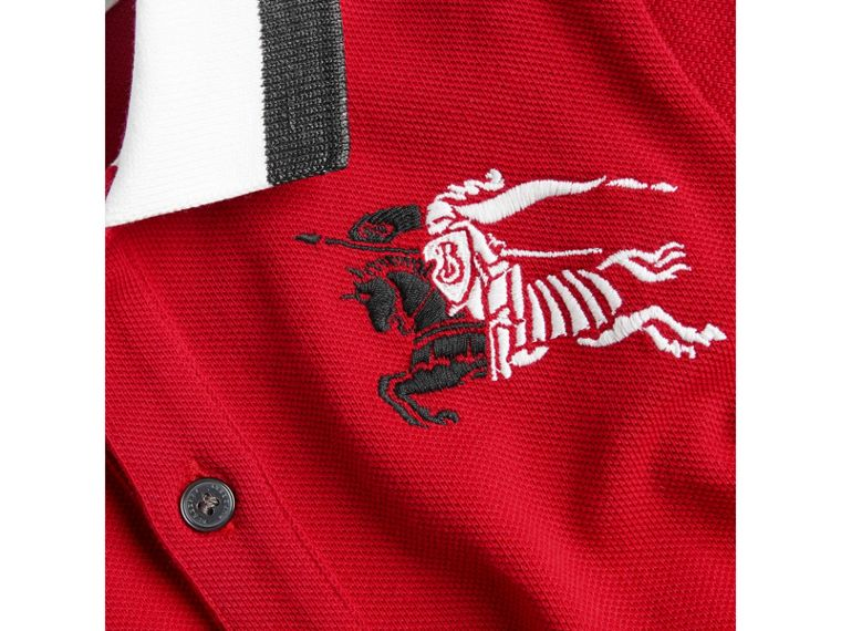 Stripe Detail Cotton Polo Shirt in Bright Red - Boy | Burberry United States - cell image 1