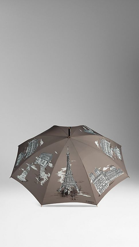 Taupe grey print Paris Landmarks Walking Umbrella - Image 3