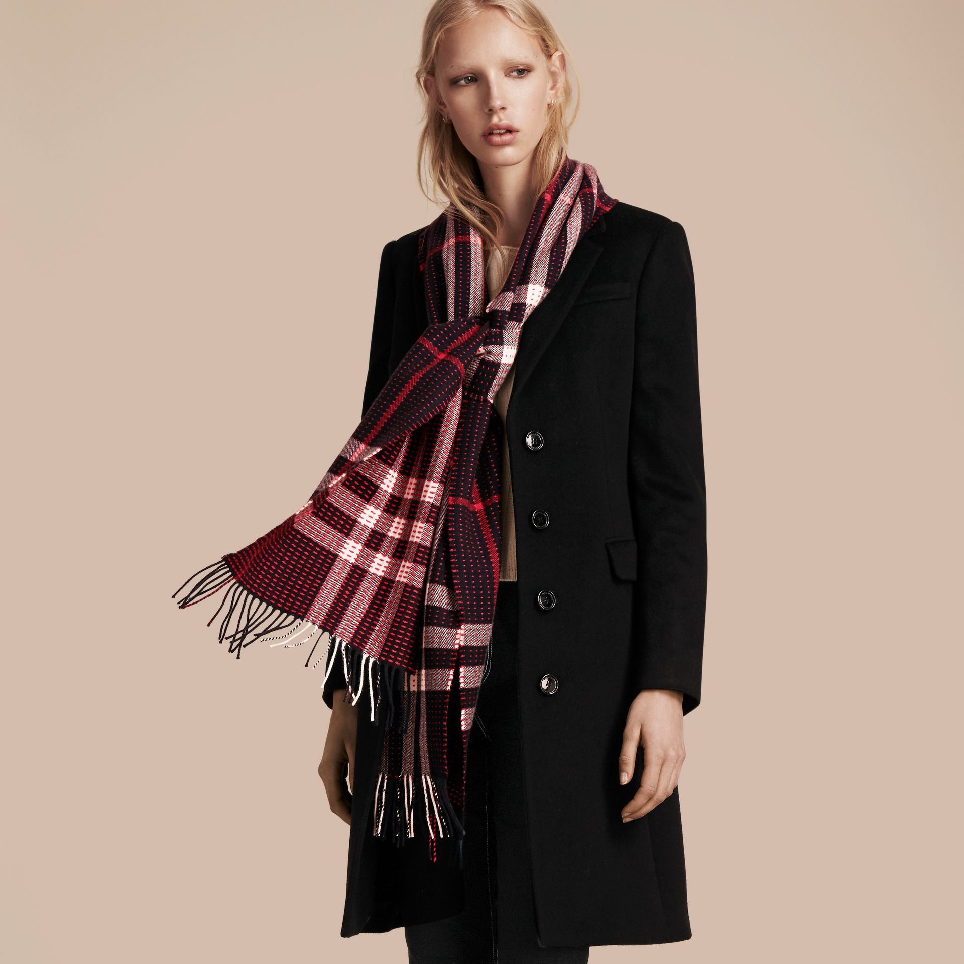 Navy check The Classic Cashmere Scarf in Check with Topstitch Detail Navy - gallery image 3