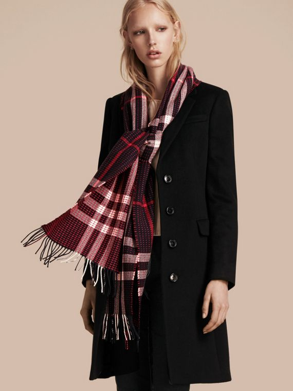 Navy check The Classic Cashmere Scarf in Check with Topstitch Detail Navy - cell image 2