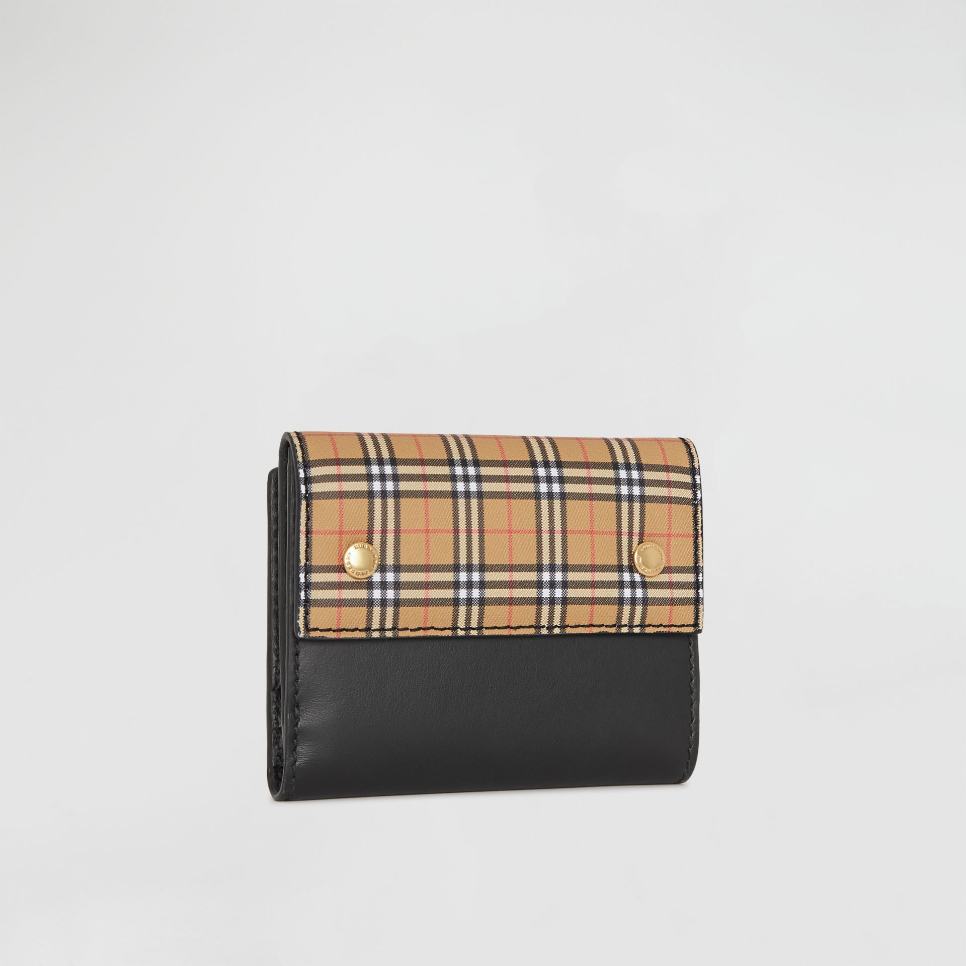 Small Scale Check and Leather Folding Wallet in Antique Yellow - Women | Burberry - gallery image 4