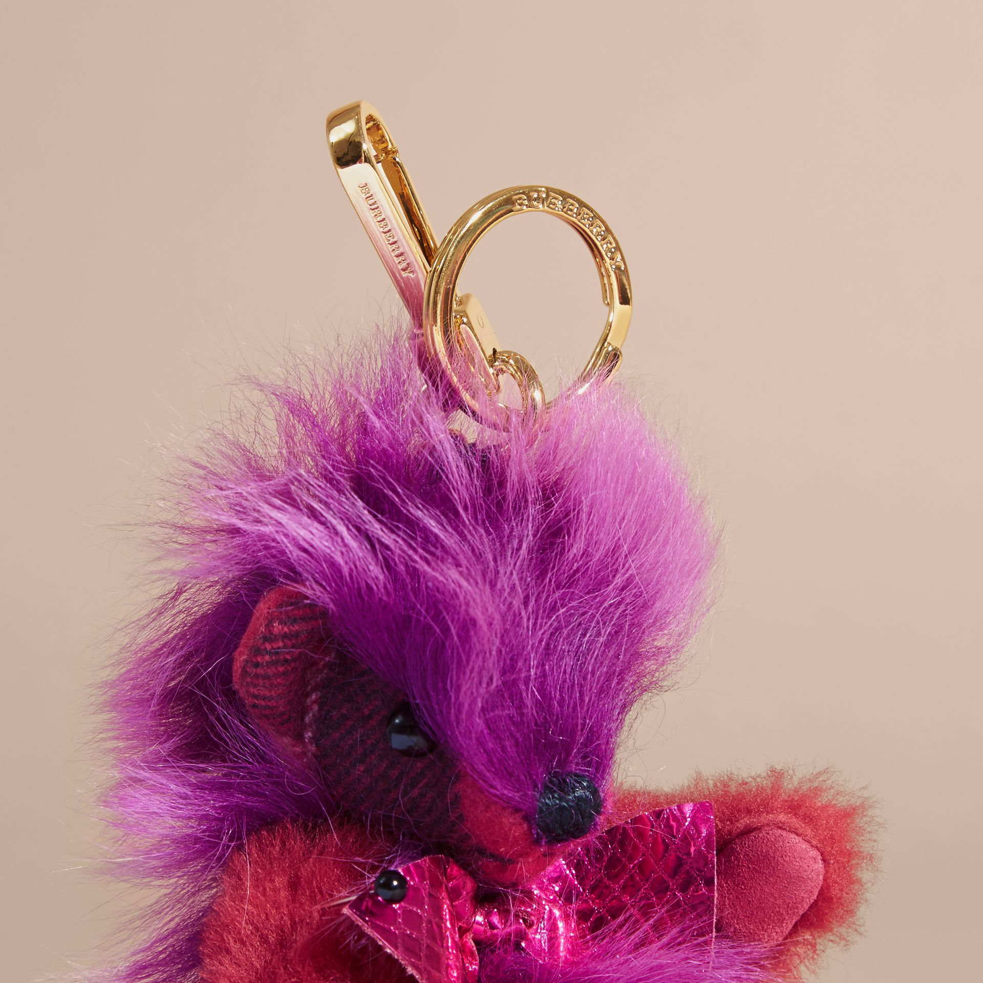 Thomas Bear Pom-Pom Charm in Check Cashmere in Fuchsia Pink - Women | Burberry Australia - gallery image 3